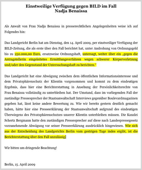 Aus der Pressemitteilung des RA Dr. Christian Schertz